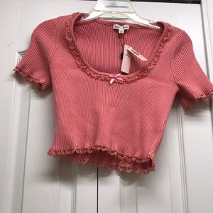 For love and lemons salmon cropped top. NWT